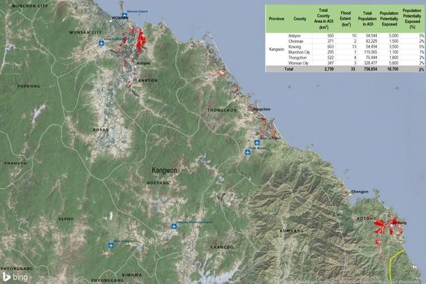 유엔 활동위성프로그램(UNOSAP)이 8일(현지 시각) 공개한 북한 지역 위성 사진. 붉은 부분이 침수된 지역이다. /UNOSAP